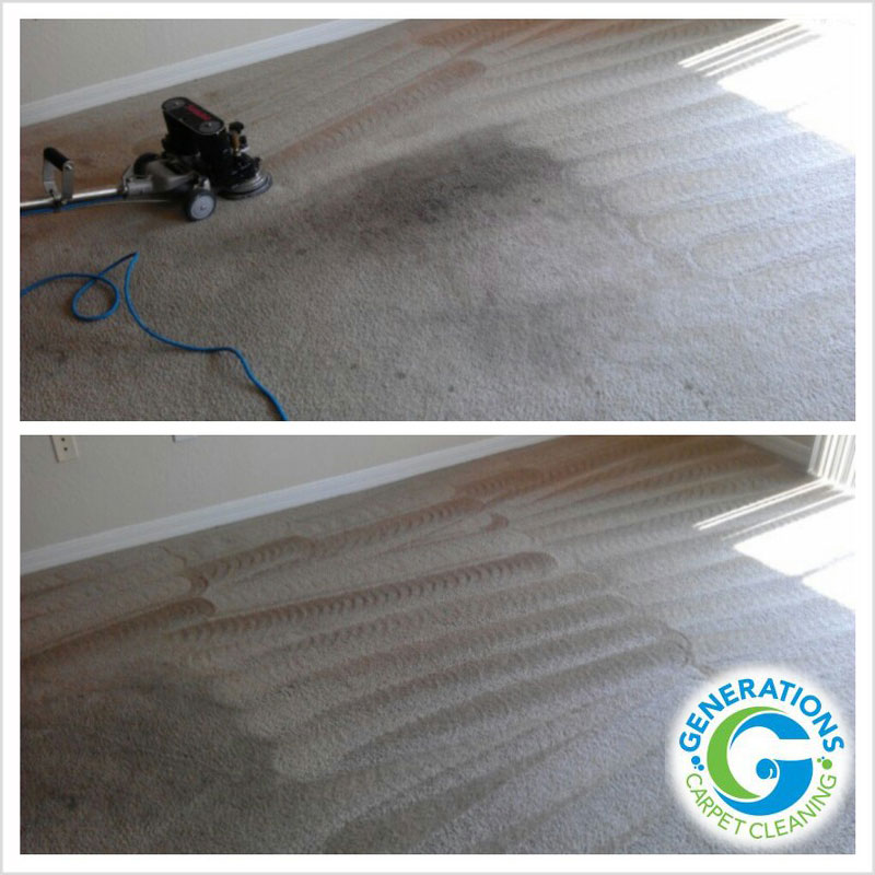 Carpet cleaning in progress - Generations Carpet Cleaning
